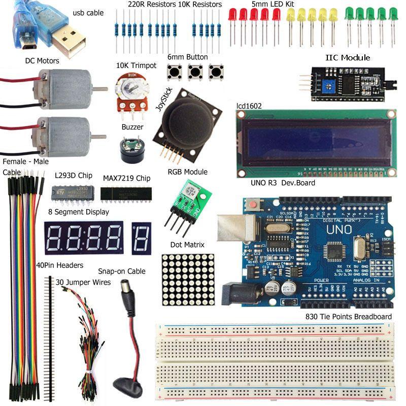 UNO R3 Starter Kit Module 1602 LCD L293D Motor LED MB102 Breadboard For Arduino