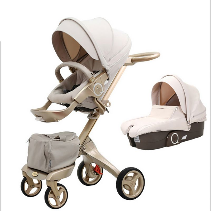 QI Bayer High landscape children's trolley double-sided can be lying can be folded umbrella folding car four round German langua