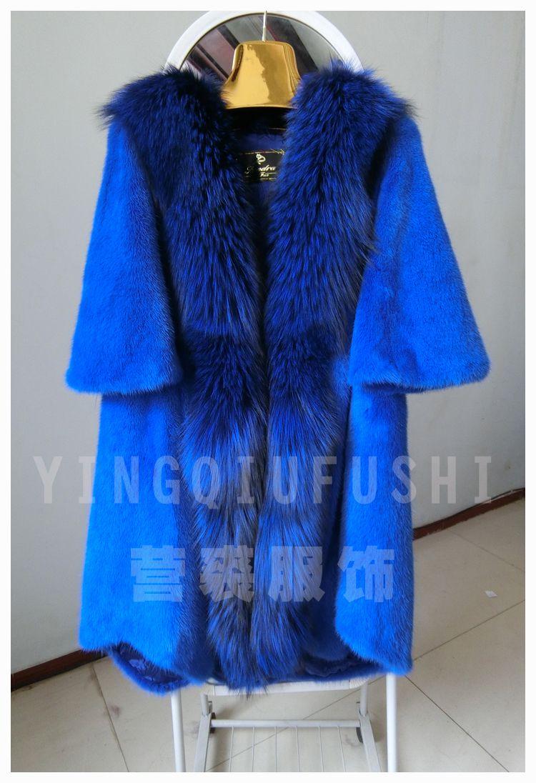 2018 Real mink fur coat  large fur collar plus size mink fur outerwear medium-long marten overcoat female