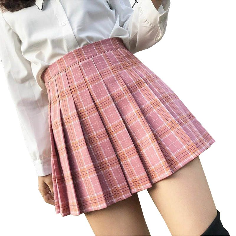 XS-3XL Women Skirt Preppy Style High Waist Chic Stitching Skirts Summer Student Pleated Skirt Women Cute Sweet Girls Dance Skirt