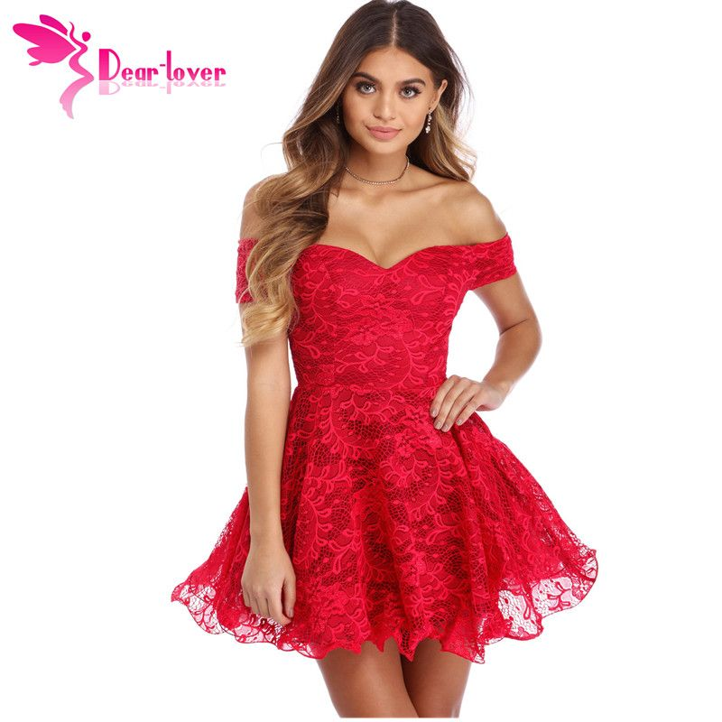 Dear Lover slash neck party dress Summer Women Red Strapless Drop Shoulder Lace Skater Mini Dress Vestidos Short Sleeve LC220259