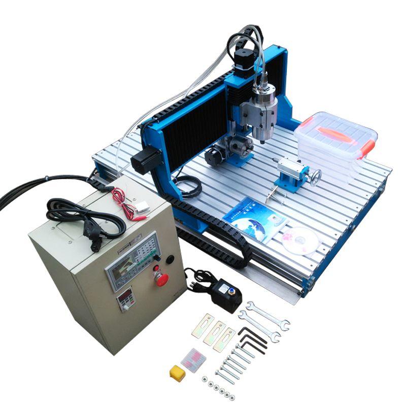 Offline DSP control system 4 achsen holz cnc fräsen maschine Linearführungsschiene metall gravur 6090L mit cutter er11 collet schraubstock