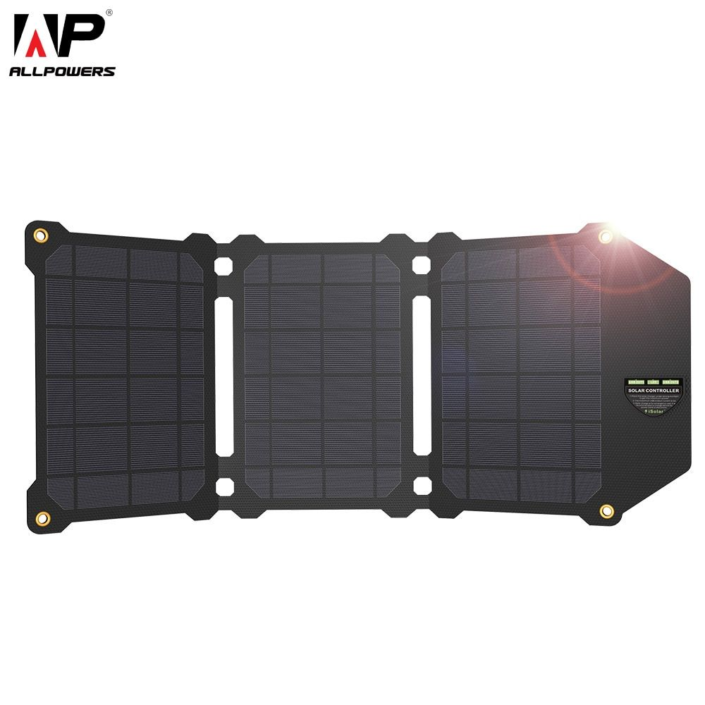 ALLPOWERS 21W Solar Panel Solar Cells Dual USB Solar Charger Batteries Phone Charging for Sony iPhone 4 5 6 6s 7 8 X Plus <font><b>iPad</b></font>
