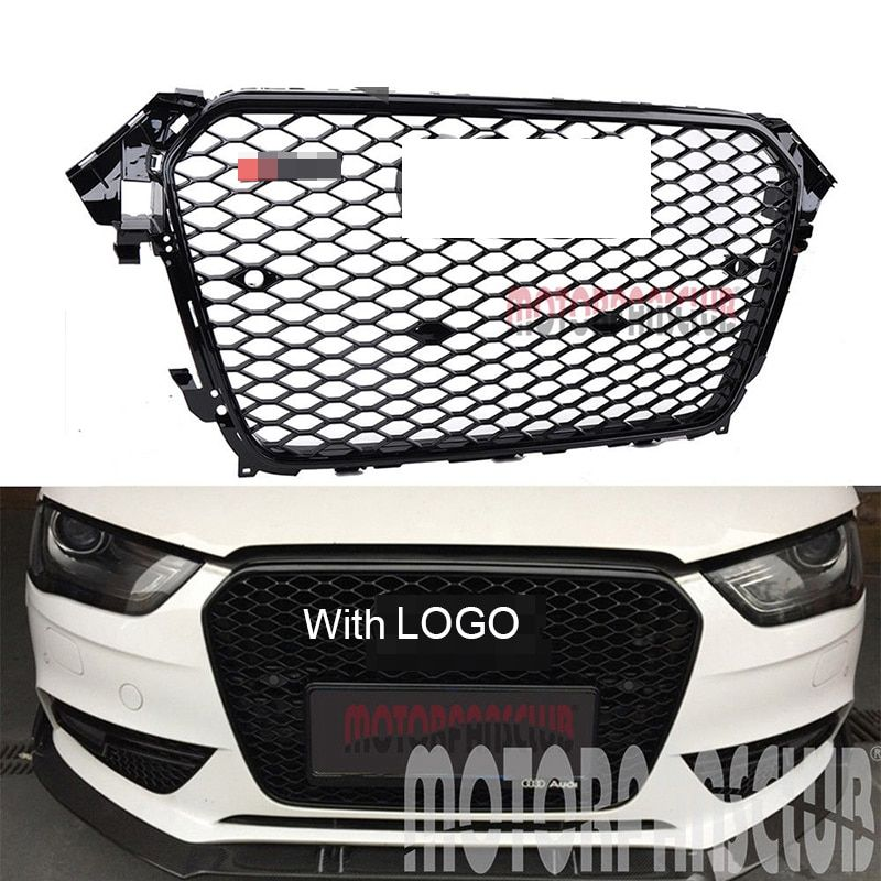 1Pc Car Racing Grille For Audi A4 B8.5 Grill 2013-2015 S4 Style Logo Full Black Radiator Trim Front Bumper Modify Mesh Honeycomb