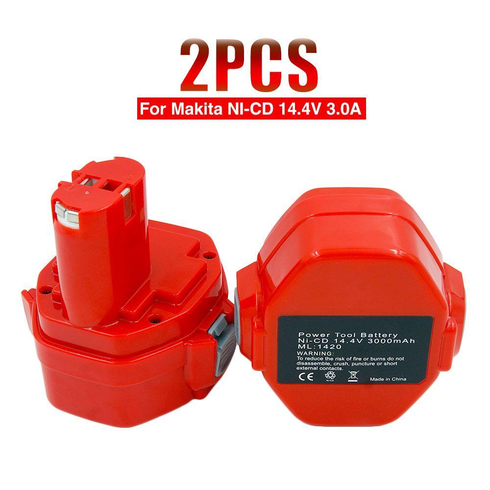 2pcs/lot Ni-CD 14.4V 3000mA Rechargeable Battery Pack for Makita Power Tools Cordless Drill PA14 1433 JR140D 1422 1420