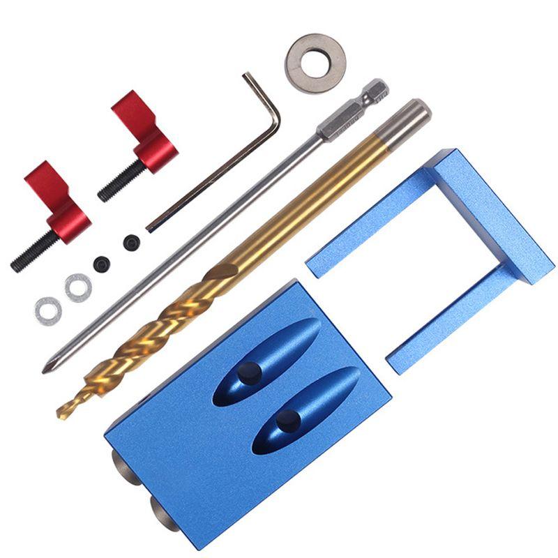 Mini système de Kit de gabarit de trou de poche de Style Kreg pour le travail du bois et la menuiserie + foret à pas et accessoires ensemble d'outils de travail du bois avec boîte