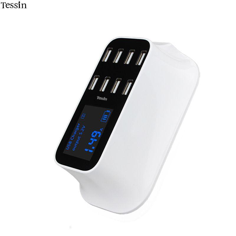 TESSIN 8 Ports USB Chargeur 8A LED Voir en Temps Réel des Smart de charge Pour iPhone iPad Samsung Huawei Nexus Xiaomi DV AC Puissance adaptateur