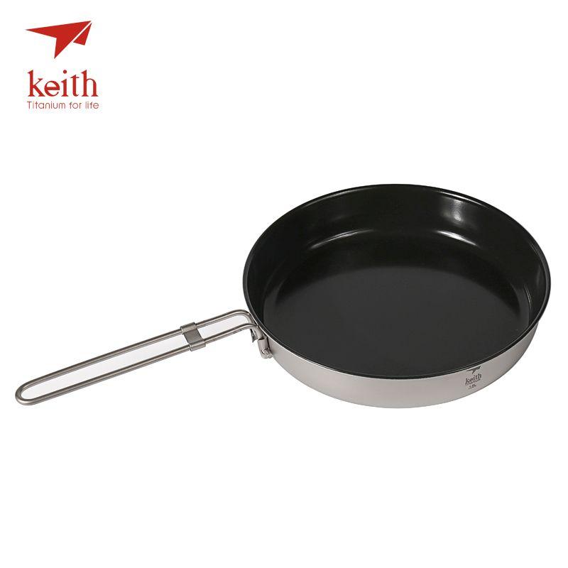 Keith Titanium Non Stick Folding Frying Pan Handles Cooking Pot Outdoor Camping Cookware Pot Tableware Cutlery 2Person 1L Ti8150