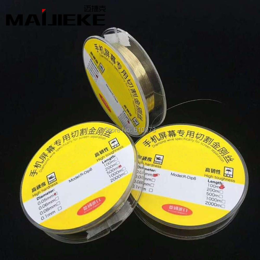MAIJIEKE 005 0.06 0.08mm Mobile Screen High Hardness Special gol Wire Cutting Line LCD Screen Separation 100M 500M 1000M