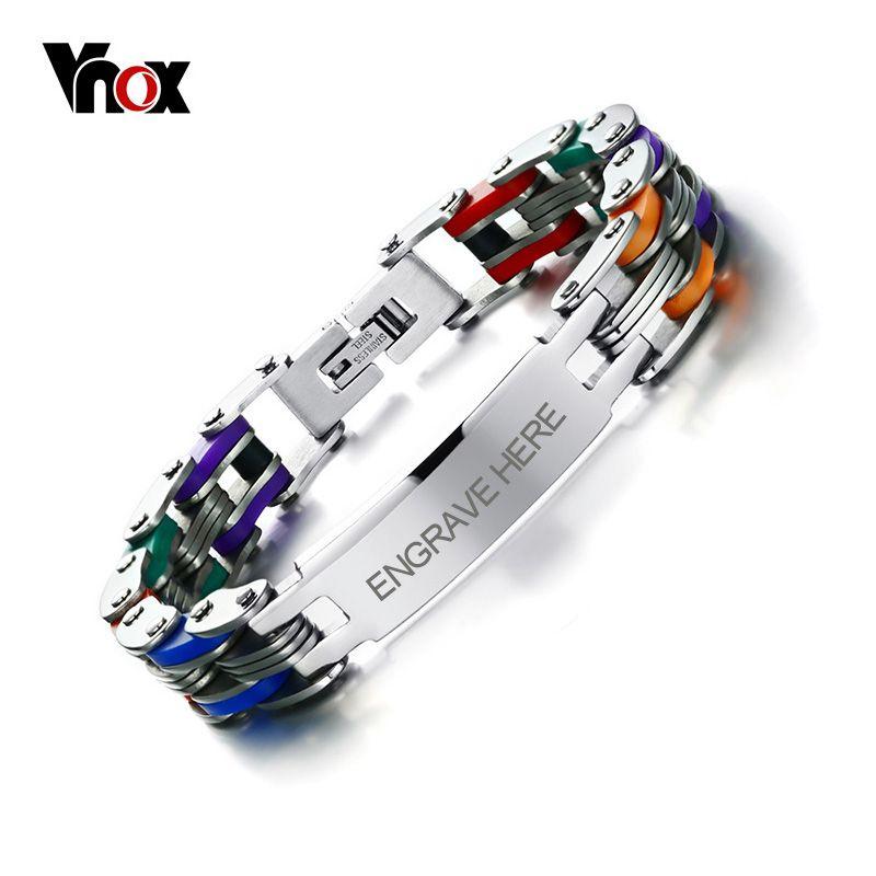 Vnox Men's Personalized Engrave Bike Bracelet Fashion Colorful Stainless Steel Chain Link Bracelets Bangles for Men Jewelry