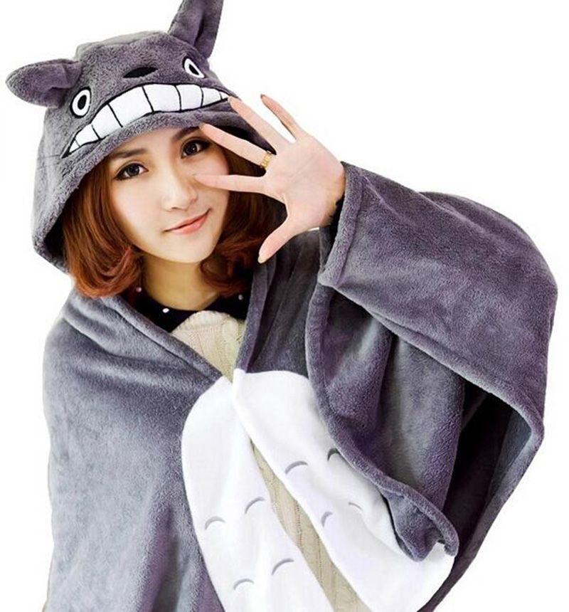 Cosplay Totoro belle peluche doux Cape Totoro chat dessin animé Cape corail polaire Air couvertures grands cadeaux 150*70 cm