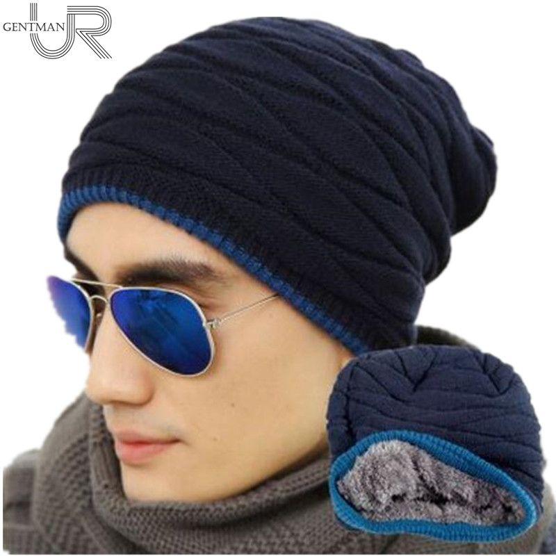 Unisex Fashion Hinzufügen Samt Beanies Warme Strickmütze Mann Und Frauen Winter Hut Einfarbig Elastische Zwei Stile Kappe