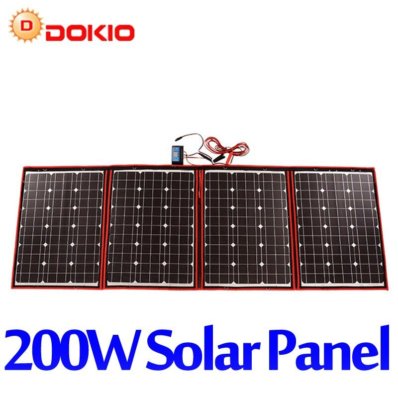 Dokio Black Solar Panels 200W (50Wx4Pc) 18V only China Foldable+12/24V Volt Controller Panels Solar battery charge motorhome