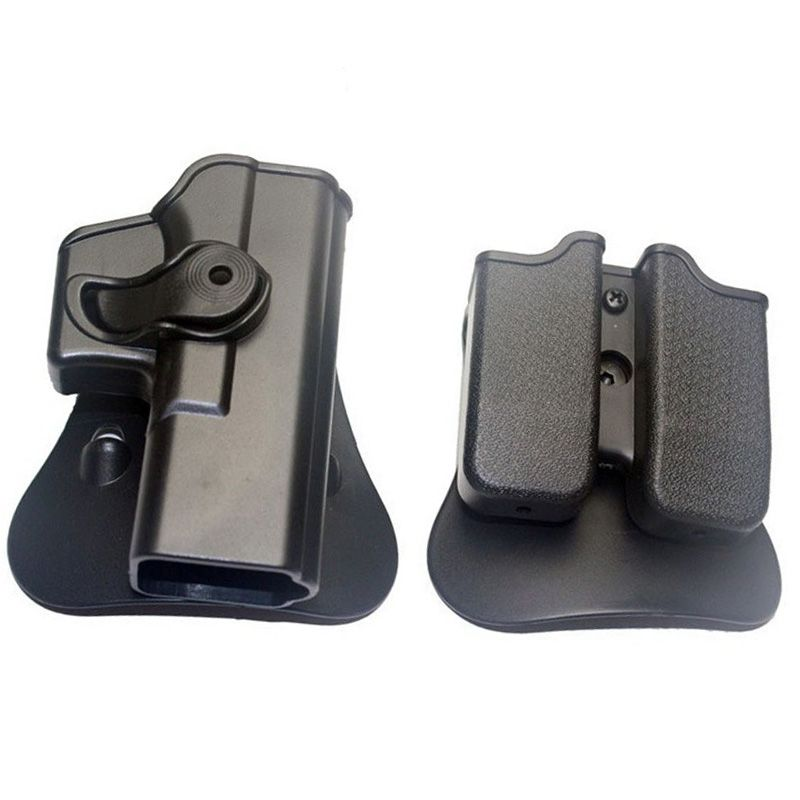 Hunting IMI Holster Glock 17 19 Right Hand Belt Loop Paddle Platform Tactical Gun Pistol Holsters with Magazine Clip Pouch Black