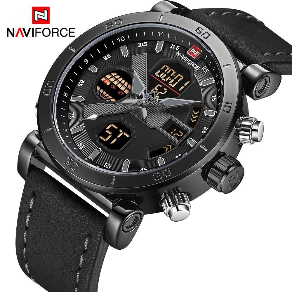 NAVIFORCE Marke männer Uhren Sport Military Dual Display Leder Uhr Runde 3ATM Waterpoof Multifunktions Armbanduhr Männlichen Uhr