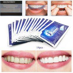 28 piezas/14 Par 3D blanco Gel dientes blanqueamiento tiras higiene Oral cuidado doble elástico dientes blanqueamiento Dental blanqueo herramientas