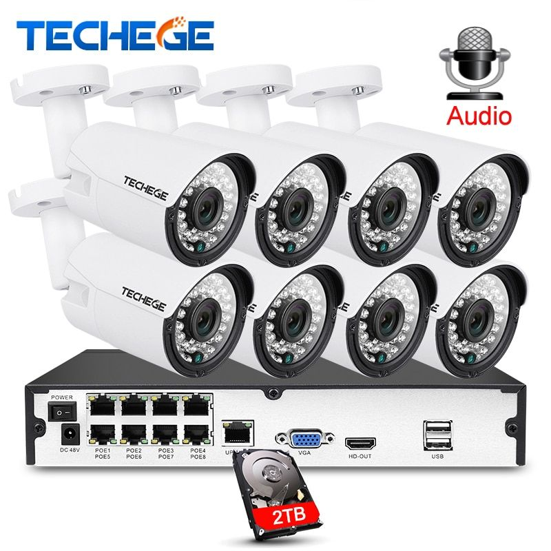 Techege 8CH 1080P CCTV System Audio Record 2MP PoE kit IP Camera 3000TVL Metal Waterproof Night Vision Security Camera System