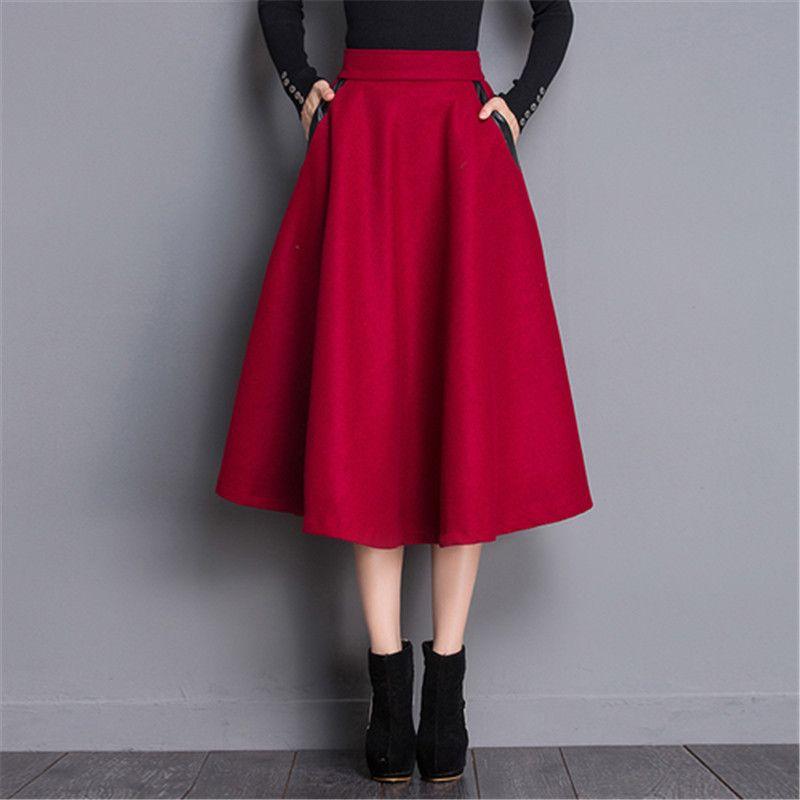 2017 herbst Elastische Hohe Taille Rock Plaid Langen Wollröcke frauen PU Patchwork Taschen Winter Warme Vintage Ol Eine Linie röcke