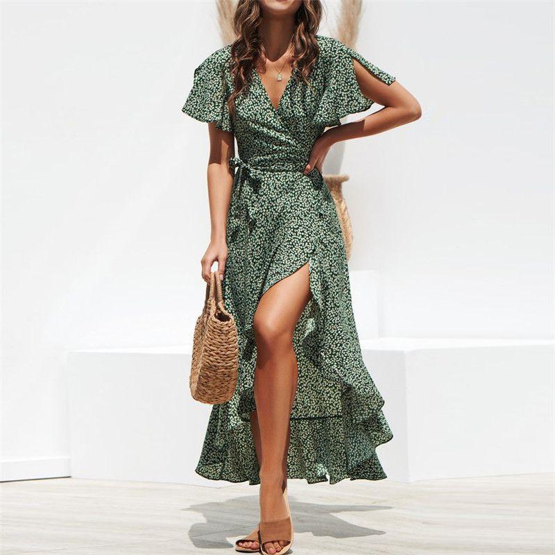 Longue robe portefeuille 2019 été Boho Style imprimé Floral Maxi robe de plage Sexy côté fendu élégant robe de soirée robes d'été