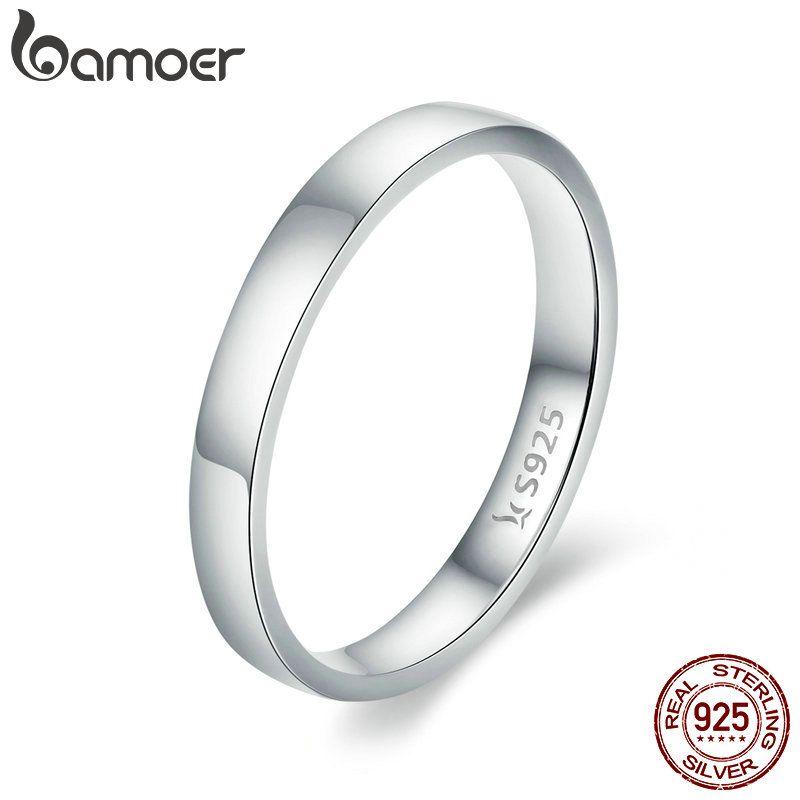 BAMOER Hohe Qualität 925 Sterling Silber Hochzeit Ring Klassische Runde Finger Ring Frauen Hochzeit Engagement Schmuck Geschenk SCR343