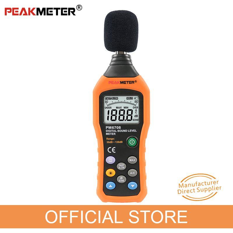 Officielles PEAKMETER PM6708 LCD Numérique Audio Decibel Son Bruit Level Meter dB Mètre De Mesure Logger Tester 30 dB à 130 dB