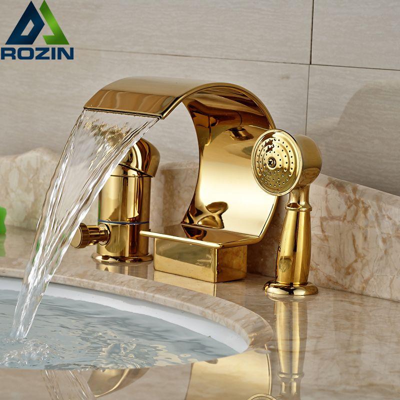 High-end Single Handle Bathroom Bathtub Faucet 3pcs Widespread Waterfall Roman Tub Mixer Taps