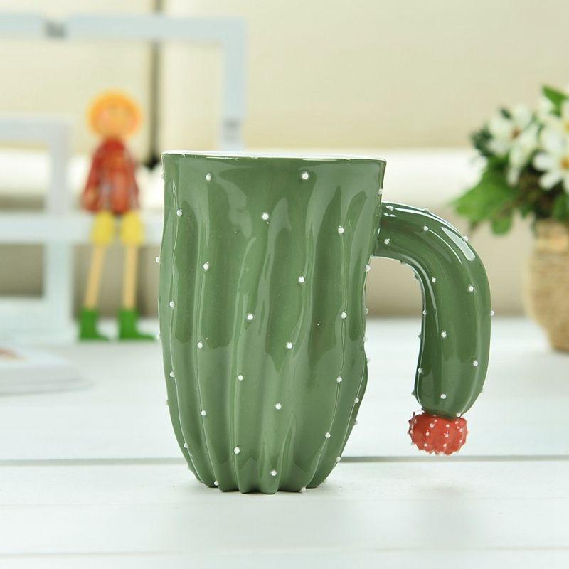 Innovative Cactus Ceramic Mug Coffee Milk Tea Mug With Handle Water Drinking Mug Office Home Drinkware Couple Gifts