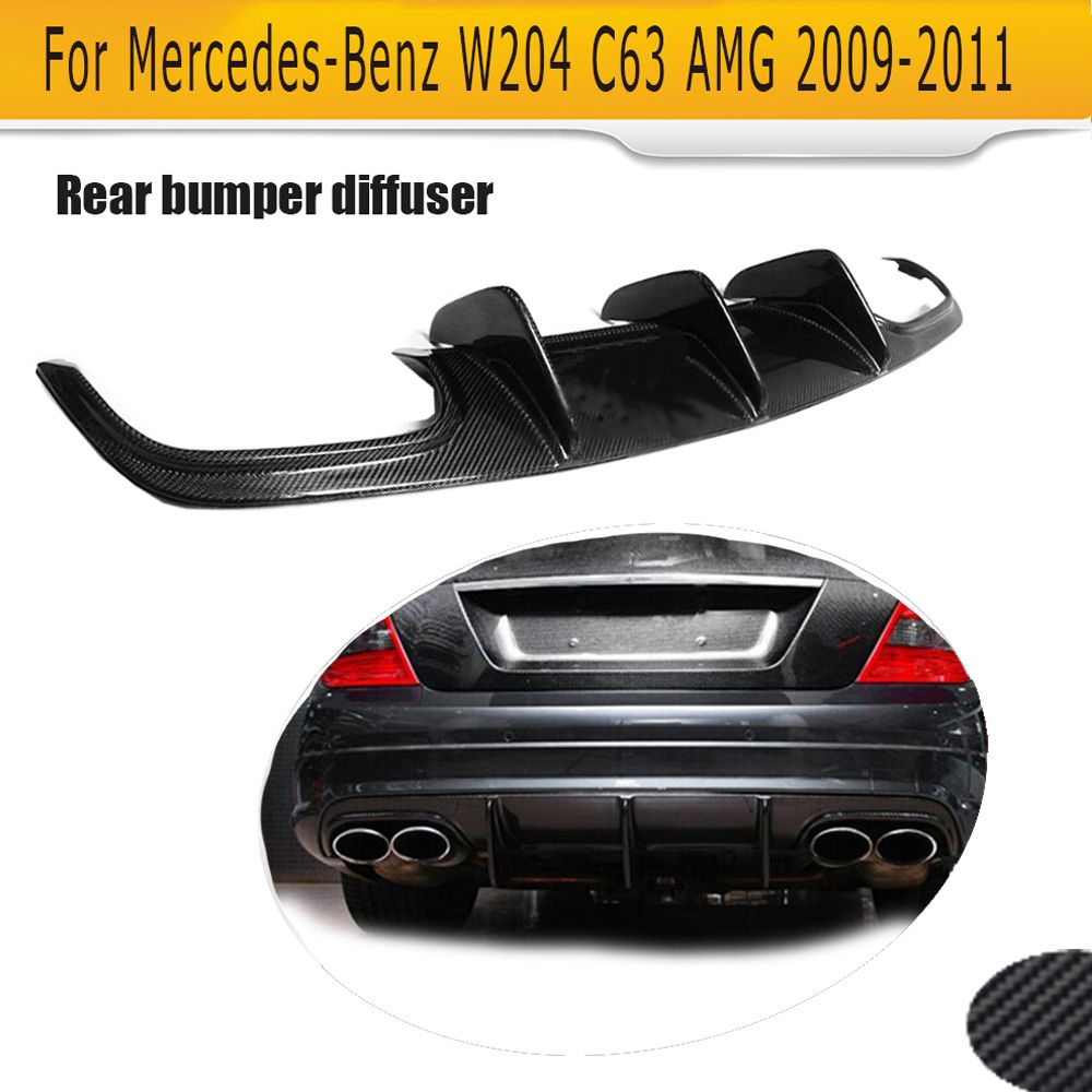 C Class Carbon Fiber rear lip spoiler Diffuser For for Mercedes Benz W204 C63 AMG 4 Door Only 09-11 A Style