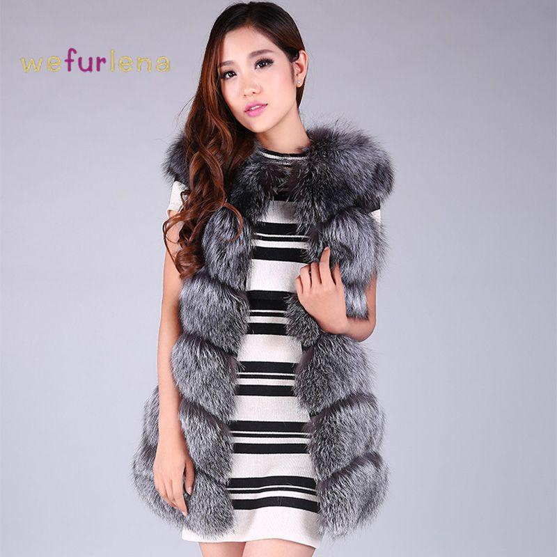 Модные Натуральный мех жилет пальто для 2017, женская обувь зима средней длины Теплый Женский Silver Fox Мех животных жилет куртка Colete feminino