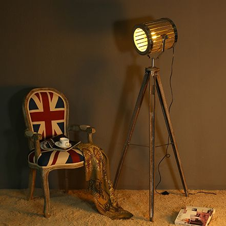 Solid Wood Lampstand Vat Searchlight Floor Lamp Nordic American Vintage Floor Light