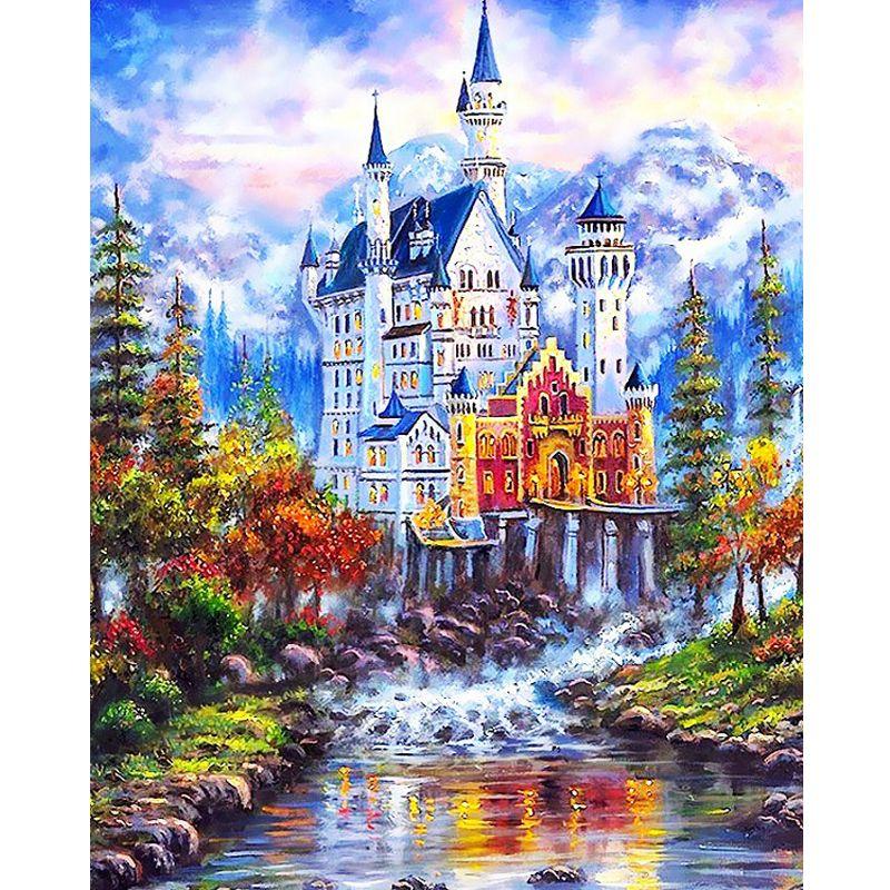Выполненные модульные картины на холсте DIY Цифровая живопись маслом по номерам картины на Настенный декор красивый замок 40*50