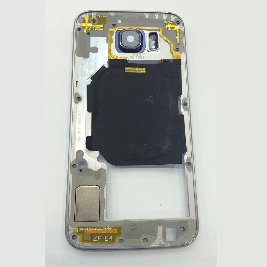 Für Samsung Galaxy S6 G920 G920F Einzelne Sim Mittleren Frame Lünette Gehäuse Chassis mit Zurück Kamera Glaslinse Abdeckung