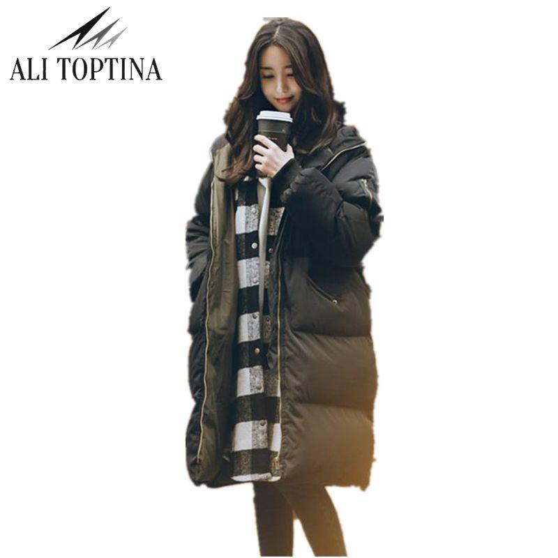Али toptina парка Для женщин пальто длинные 2018 зимнее пальто Для женщин куртка Толстая Теплая зимняя одежда утепленное хлопковое пальто свобод...