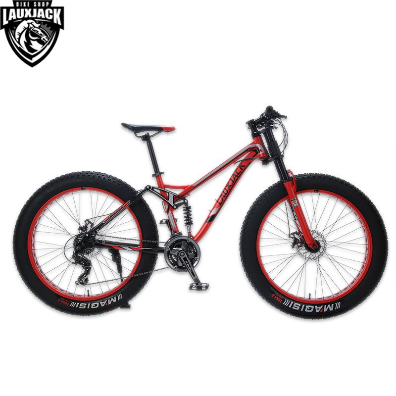 LAUXJACK Mountain Fat Bike Steel Frame Full Suspention 24 Speed Shimano Disc Brake 26