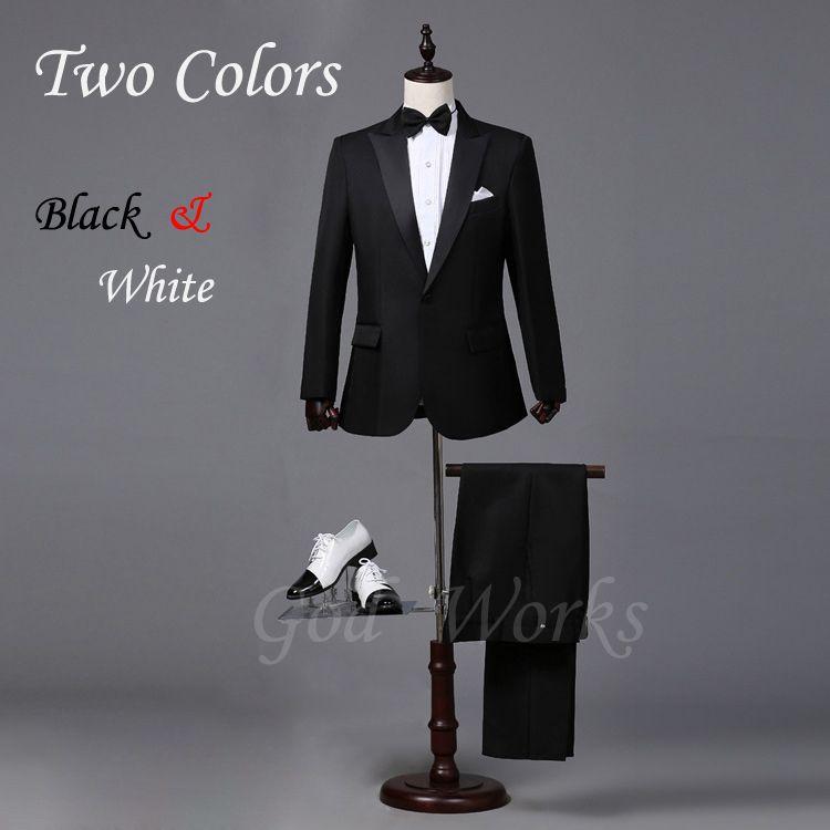 Mens Chaqueta Sastre Blanco Trajes de Boda Del Novio Negro Padrinos de Boda Traje de Boda Para Los Hombres 2 Colores 7 Tamaño