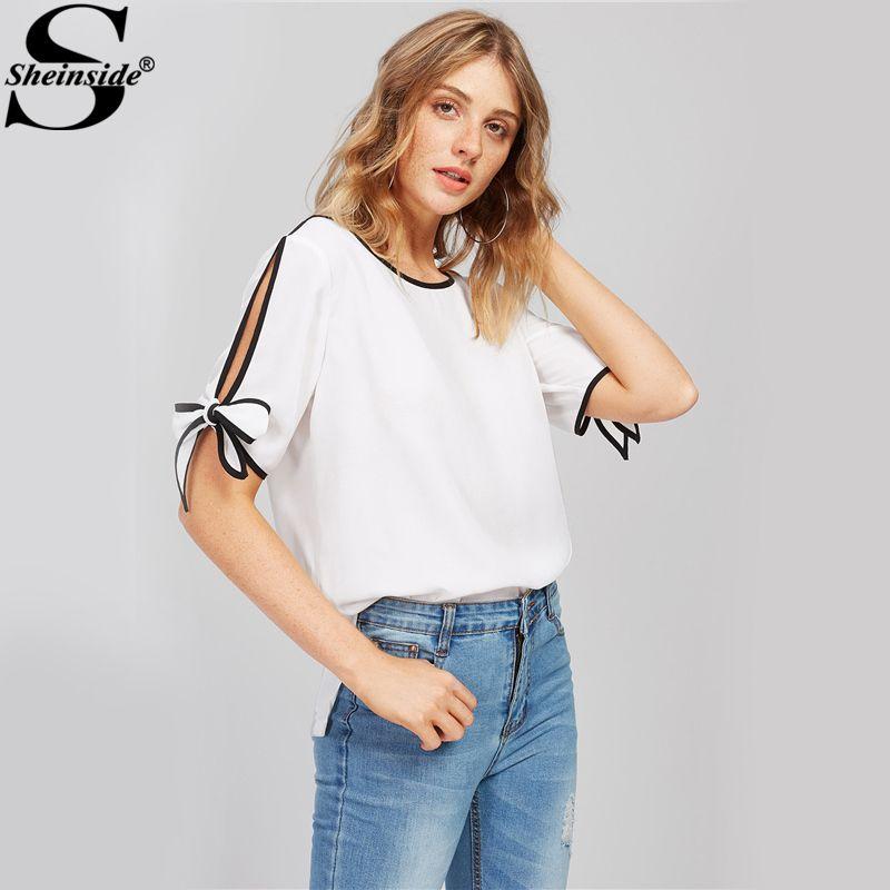 Sheinside Bow Tie Split Sleeve Blouse White Elegant Tops Contrast Binding Women Autumn Sheer Tops Casual Chiffon Tunic Blouse