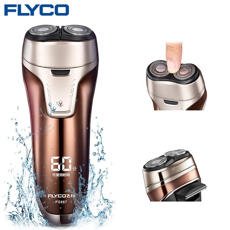 Flyco FS867 Humide/sec Double rasoir pour Hommes Étanche rasoir à barbe Pop-Up Trimmer Barbeador Elétrico Masculino barbeador
