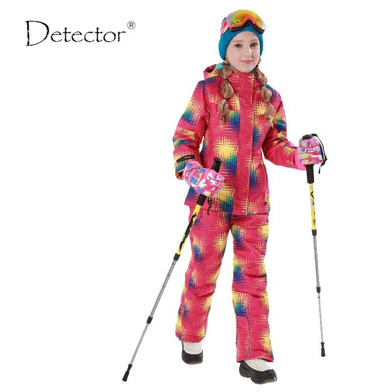 Бесплатная доставка Зима Детская верхняя одежда комплект ветрозащитный лыжный Куртки + Брюки для девочек дети снег Наборы для ухода за коже...