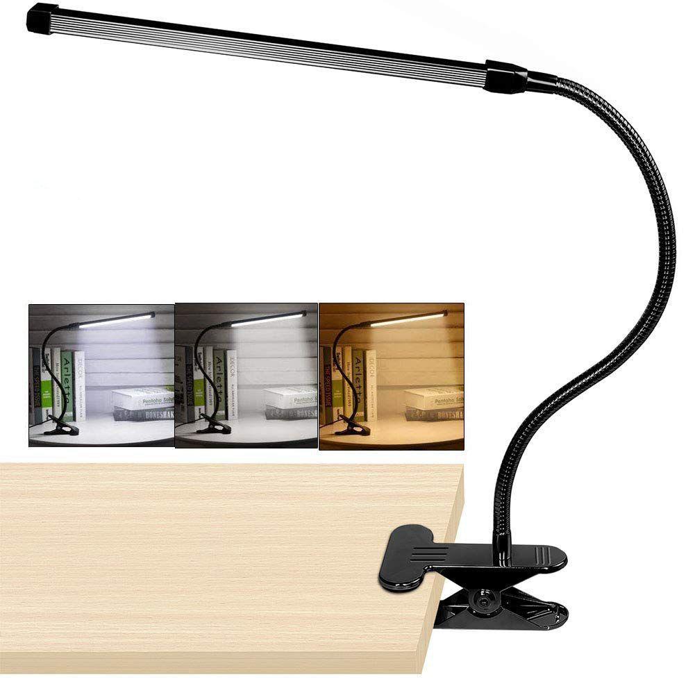 8W clip LED sur lampe de bureau avec 3 Modes 2M câble gradateur 10 niveaux pince lampe de Table