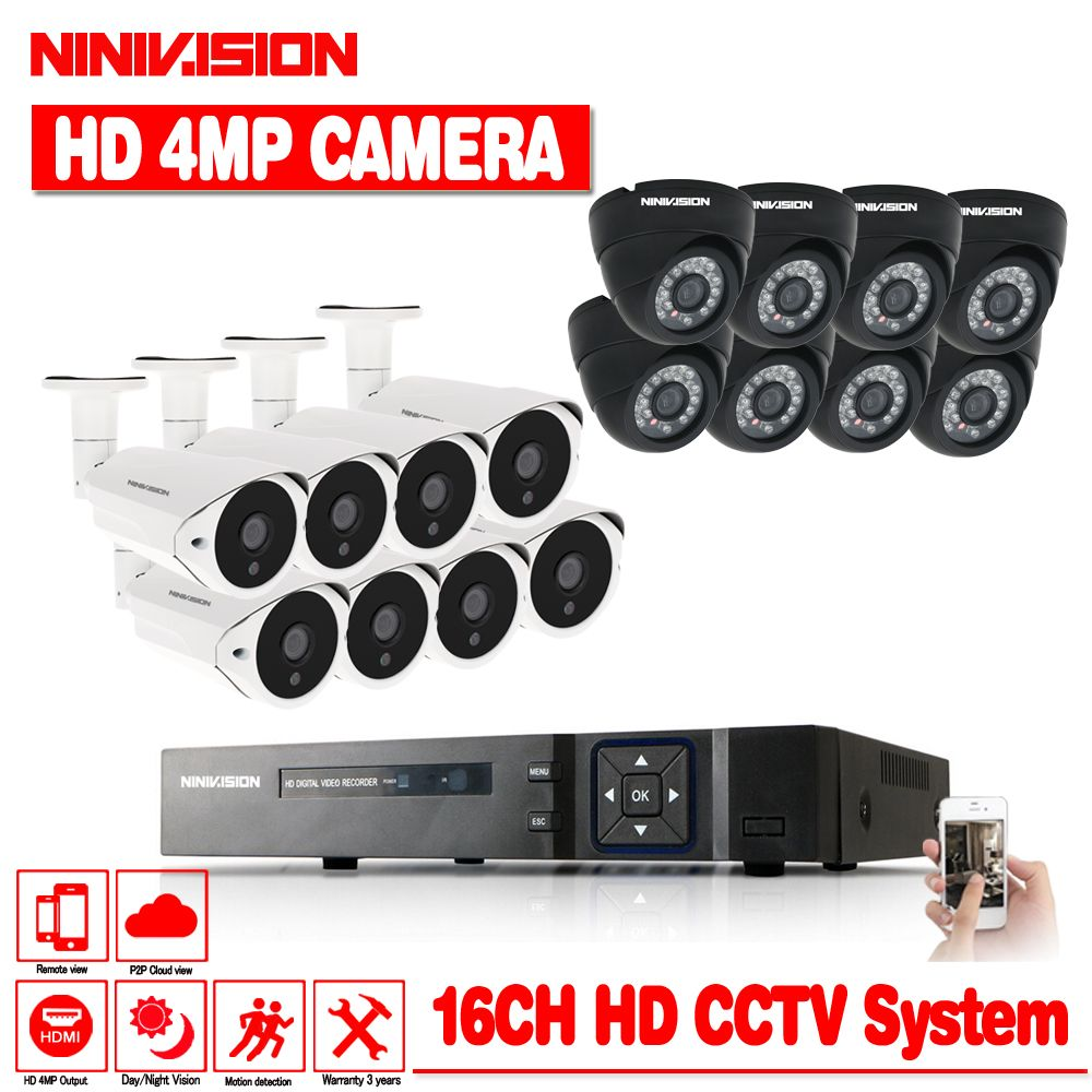 NINIVISION 4MP CCTV System DVR 16PCS 4.0MP IR Weatherproof Outdoor Video Surveillance Home Security Camera System 16CH DVR Kit