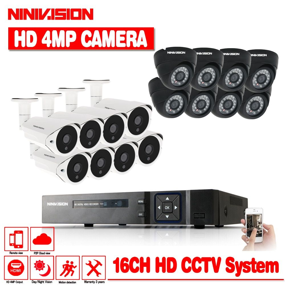 NINIVISION 4MP CCTV System DVR 16PCS 4.0MP IR Weatherproof Outdoor Video Surveillance Home Security Camera System 16CH DVR Kit