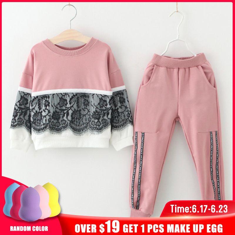 Enfants printemps costumes 2019 nouveau Style filles sport vêtements ensembles 2 pièces dentelle conception épissure et couleur unie pantalons vêtements ensembles enfants