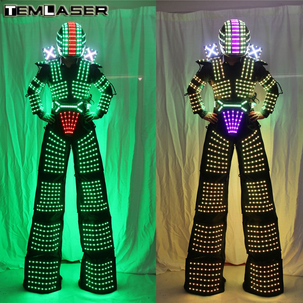 LED Robot Costume David Guetta LED Robot Suit illuminated Kryoman Robot Stilts Clothes Luminous Costumes