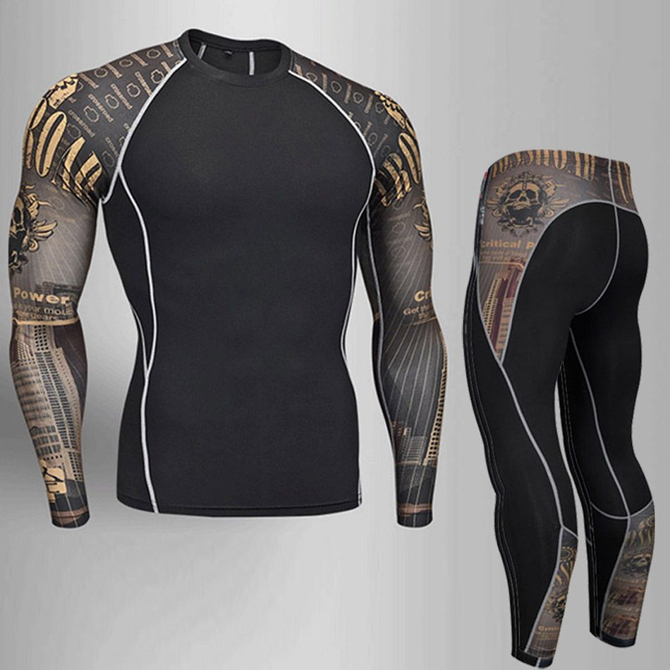 Man Compression Tights Leggings Men's Sports Suit Jogging Suits Gym Training T-shirt MMA Rash Guard Male Compression Cothing 4XL