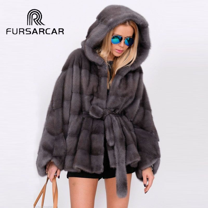 FURSARCAR Luxury New Real Mink Fur Coats Women Bat-sleeved Style Winter Female Genuine Leather Mink Fur Jacket With Fur Hood