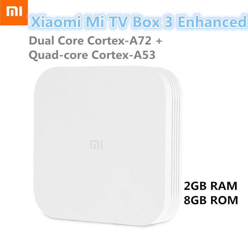 Xiaomi Mi Box 3 Enhanced Android 5.1 Set Top Box Dual Core Cortex-A72 + Cortex-A53 WiFi Bluetooth 4.1 2GB 8GB Smart Media Player