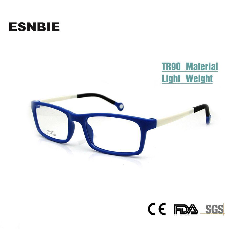 ESNBIE Cool enfants lunettes cadres garçon fille rectangulaire enfant lunettes Nerd TR90 Flexible enfants en plastique mémoire Rx lentille