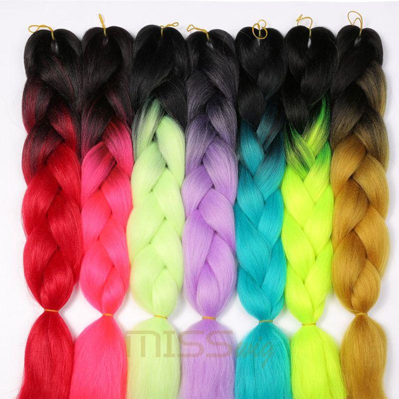 SEÑORITA PELUCA Kanekalon Ombre Trenzado de cabello Extensiones de Cabello 24 pulgadas 100g Jumbo Trenzas de Pelo Sintético De Fibra Verde Rosado Azul Púrpura Brown1pce