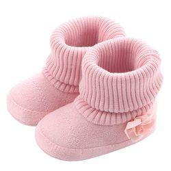 Bebé Niñas Botas para recién nacido Calcetines Rosa Flores nuevo estilo infantil Zapatos de bebé Invierno Caliente botines envío de la gota
