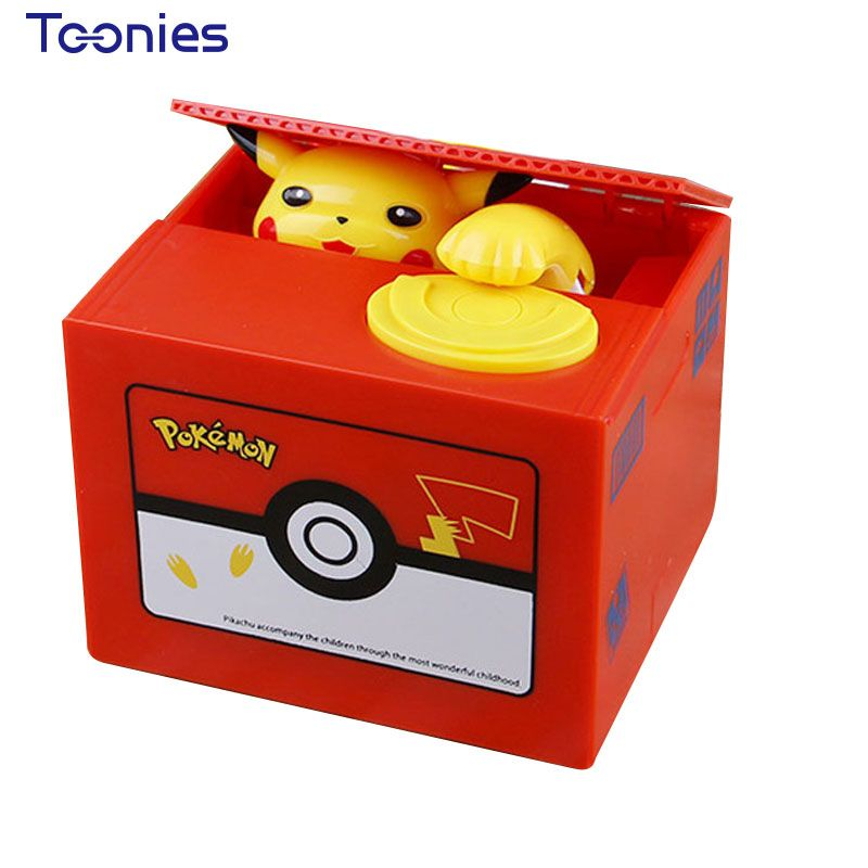 Pokemon Money Box PiKachu Cartoon Miniature Piggy Bank Music Stealing Money Vintage Home Decor Unique Christmas New Year Gift